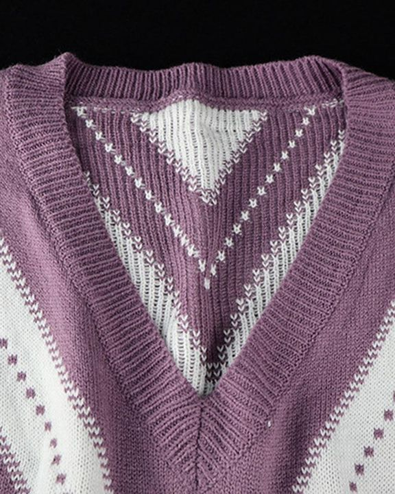 Colorblock Drop Shoulder Ribbed Knit Sweater gallery 7