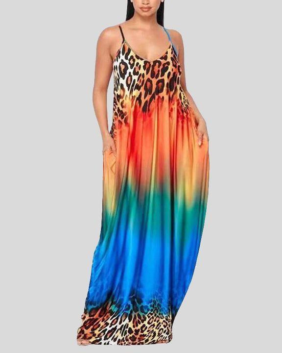 Ombre Leopard Print Cami Maxi Dress gallery 2