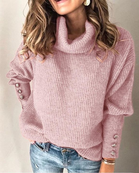 Solid Button Detail Ribbed High Neck Sweater gallery 4