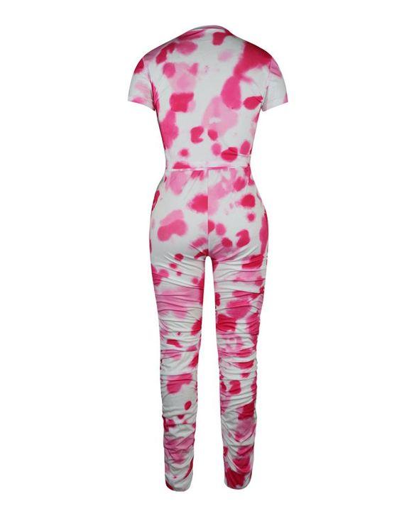 Tie Dye Slant Pocket Top & Stacked Pants Set gallery 8