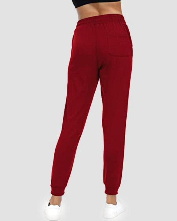 Solid Drawstring Front Pocket Detail Sports Pants gallery 12