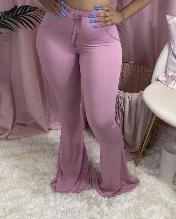 Drawstring Front Slant Pocket Flare Pants gallery 4