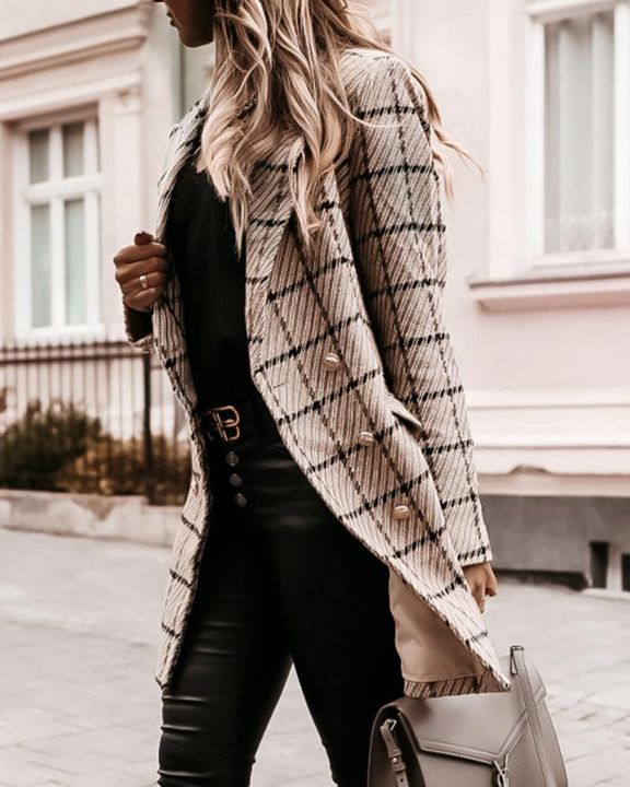 Plaid Double Breasted Lapel Neck Coat gallery 10