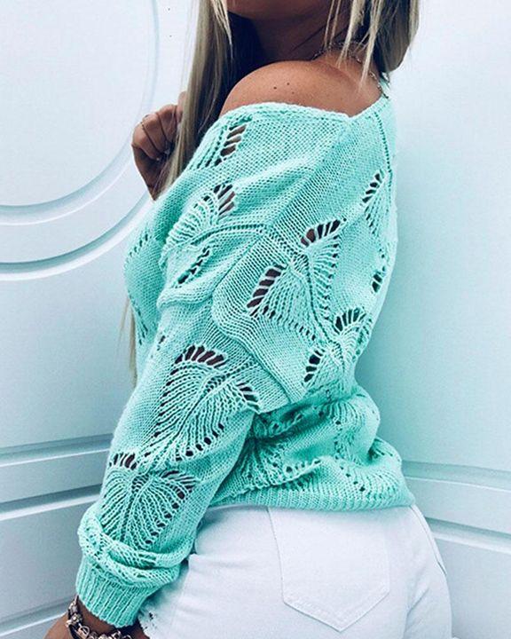 Pointelle Knit Drop Shoulder Bodycon Sweater gallery 7