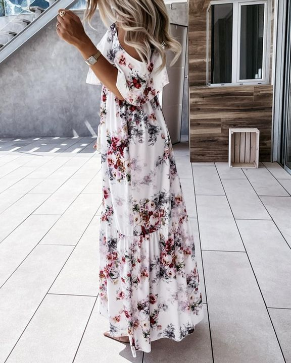 Floral Print Ruffle Trim Backless Cold Shoulder Maxi Dress gallery 3
