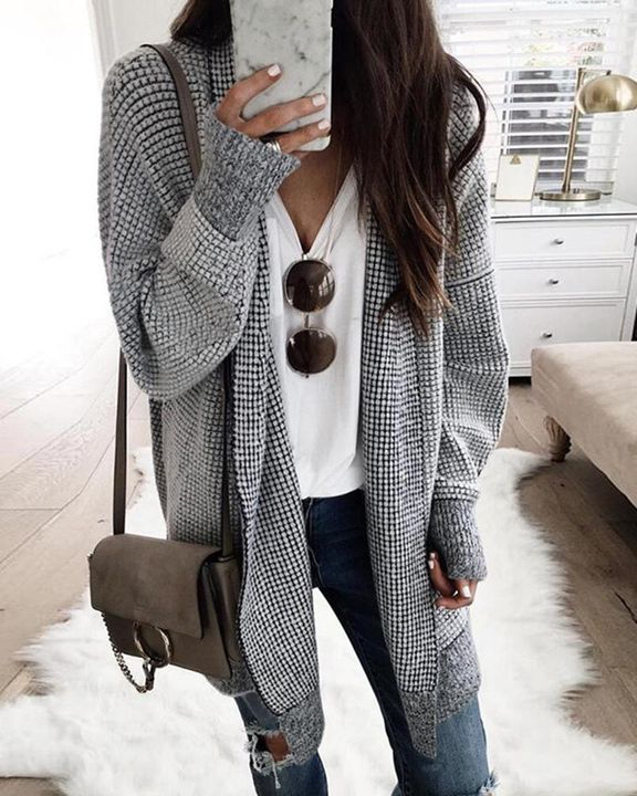 Plaid Open Front Batwing Sleeve Cardigan gallery 1