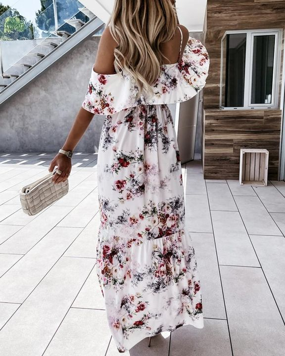 Floral Print Ruffle Trim Backless Cold Shoulder Maxi Dress gallery 4