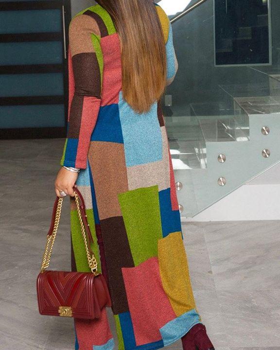 Colorblock Split Open Front Cardigan gallery 8