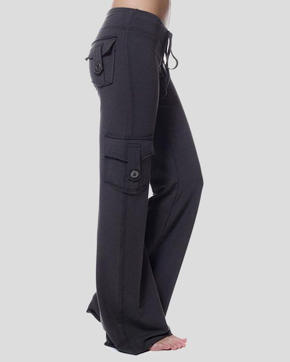 Solid Button Flap Pocket Drawstring Wide Leg Pants gallery 8