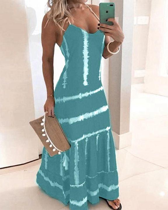 Abstract Halter Maxi Dress gallery 6