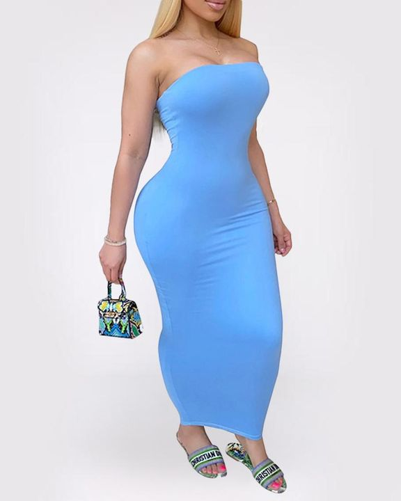 Solid Strapless Tube Maxi Dress gallery 1