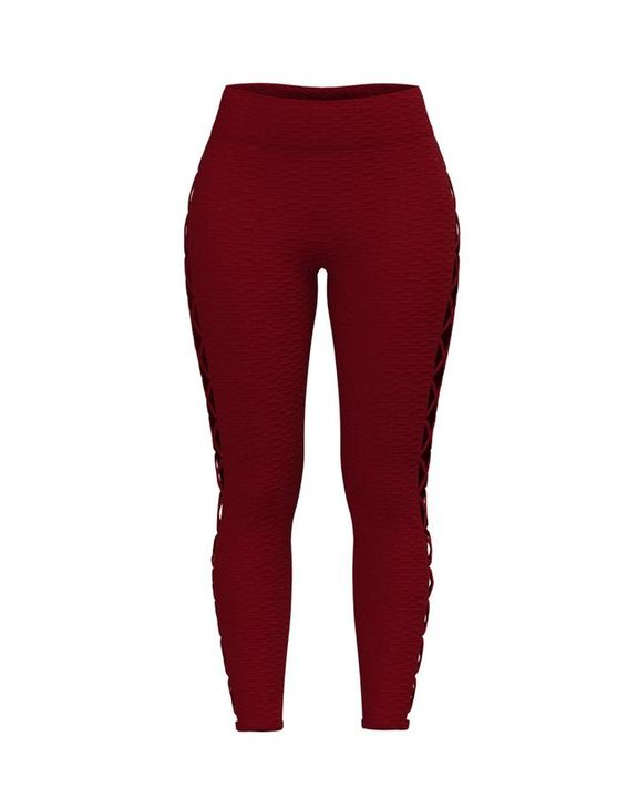Lace Up Side Textured Ruched Sports Leggings gallery 6