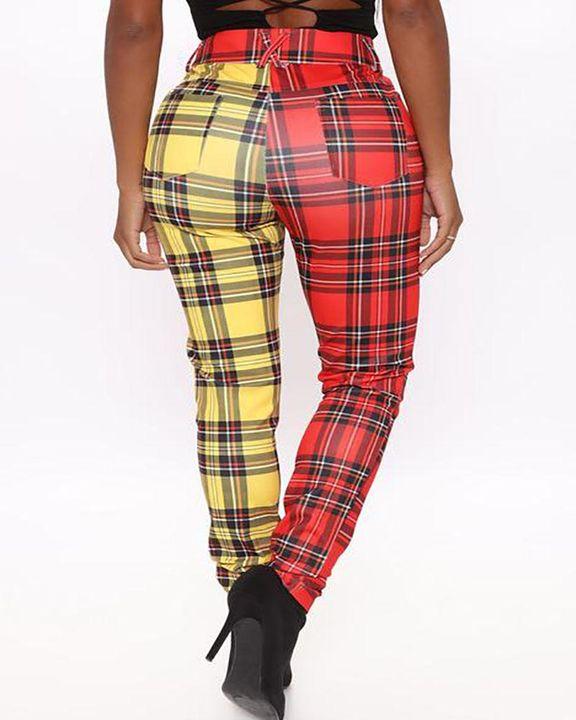 Two Tone Plaid Print High Waist Pants gallery 6