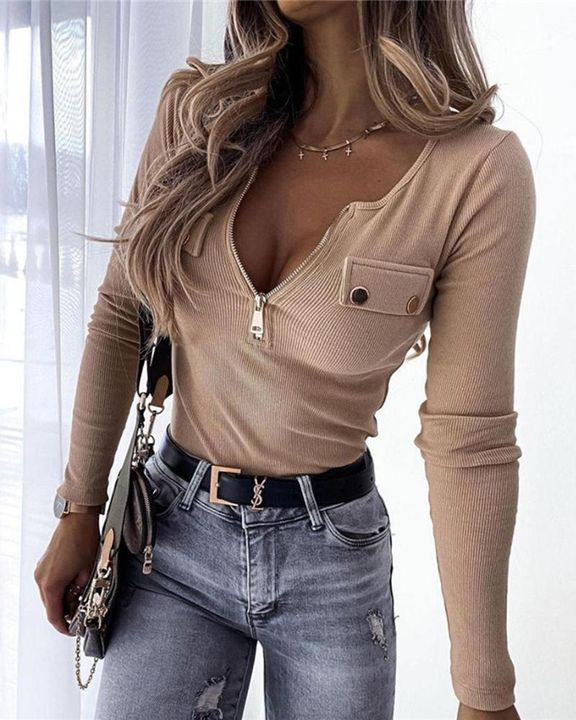 Ribbed Zip Up Front Studded Button Blouse gallery 1