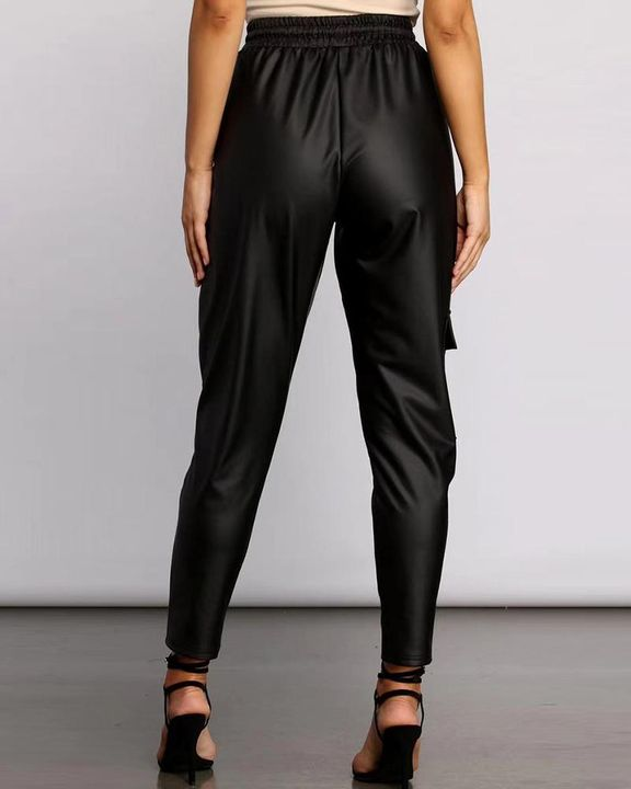 PU Leather Drawstring Front High Waist Flap Pocket Pants gallery 3