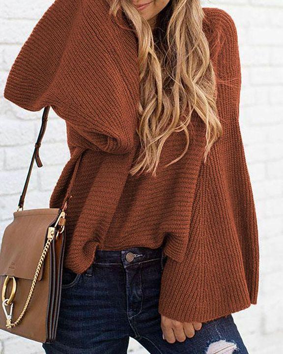 Solid Bell Sleeve Scoop Neck Sweater gallery 12