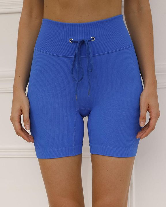 Solid High Waist Drawstring Front Sports Shorts gallery 6
