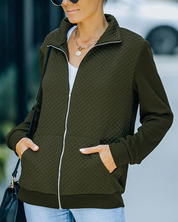 Solid Waffle Pattern Zip Up Slant Pocket Stand Collar Jacket  gallery 3