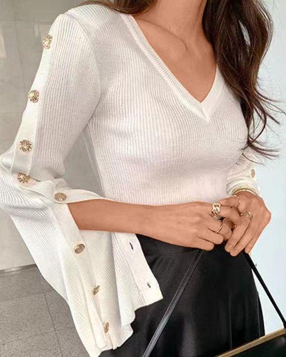 Button Trim Rib Knit Bodycon Sweater gallery 3