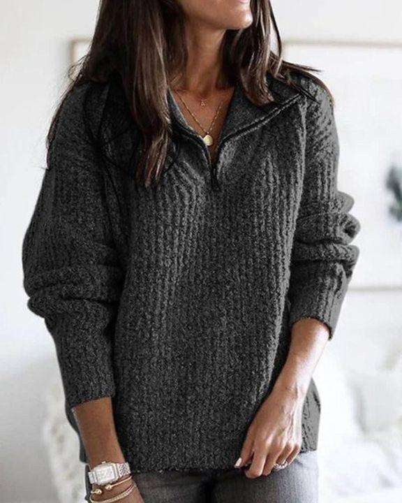 Fuzzy Knit Half Zip Drop Shoulder Sweater gallery 5
