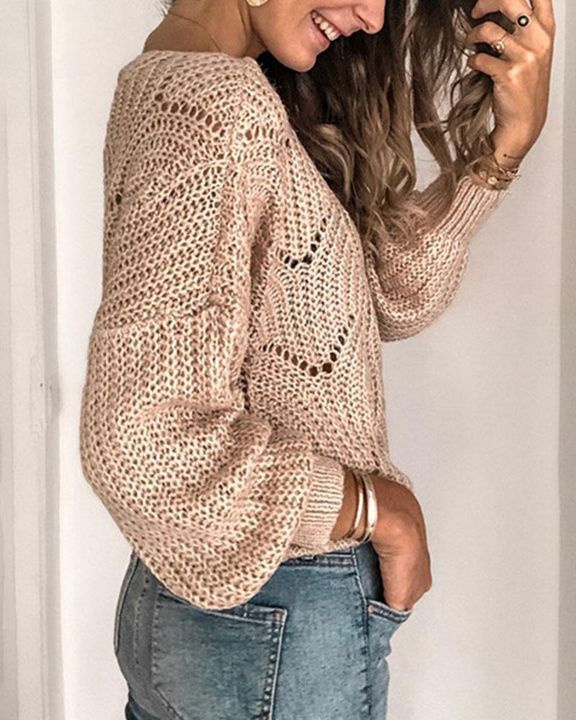 Solid Rib-Knit Hollow Out Sweater gallery 6