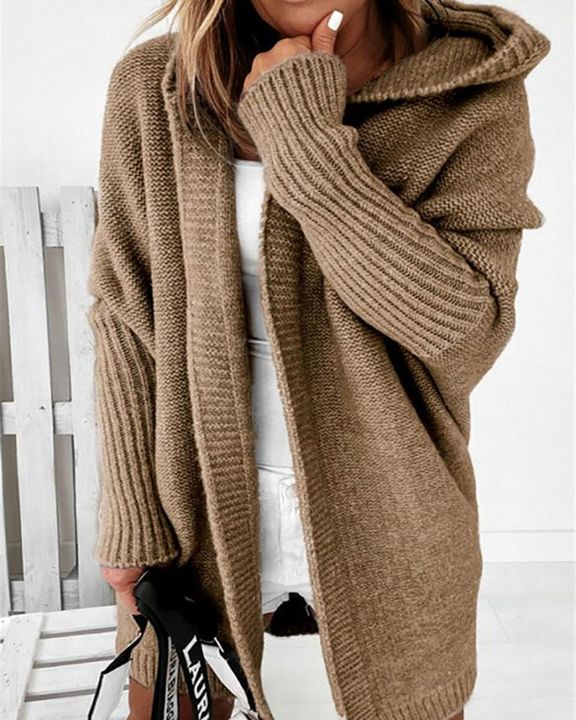 Solid Leg-of-mutton Sleeve Hooded Cardigan gallery 1