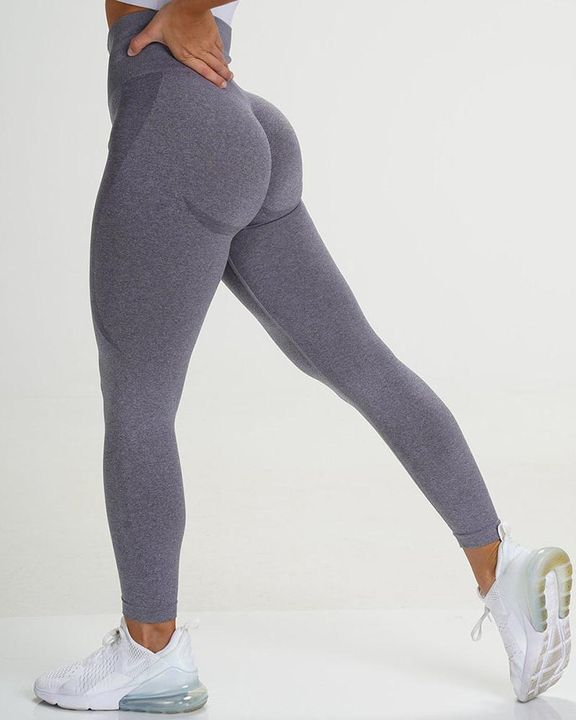 Solid Wide Waistband Contrast Stitch Sports Leggings  gallery 11