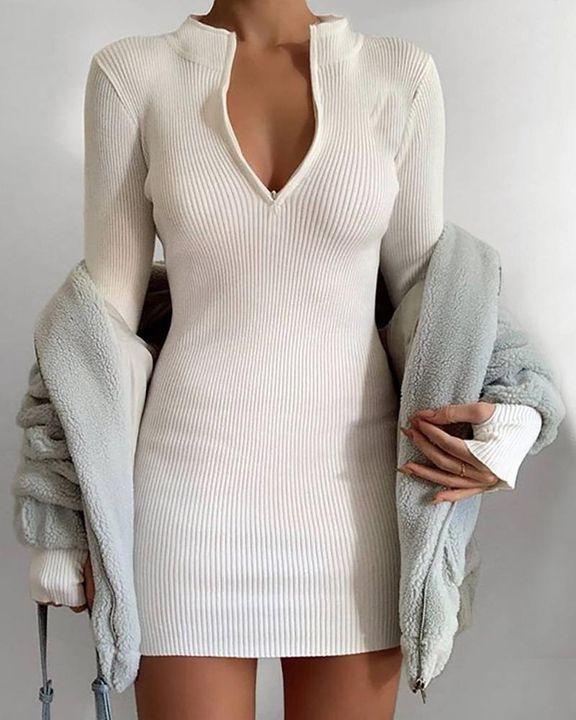 Solid Rib-Knit Zip Up Thumb Hole Mini Dress gallery 9