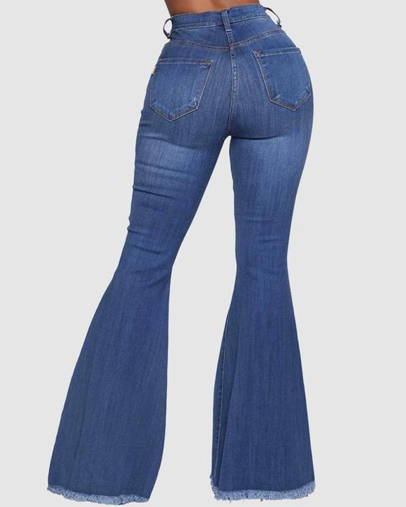 Ripped Raw Edge High Waist Flare Jeans gallery 3