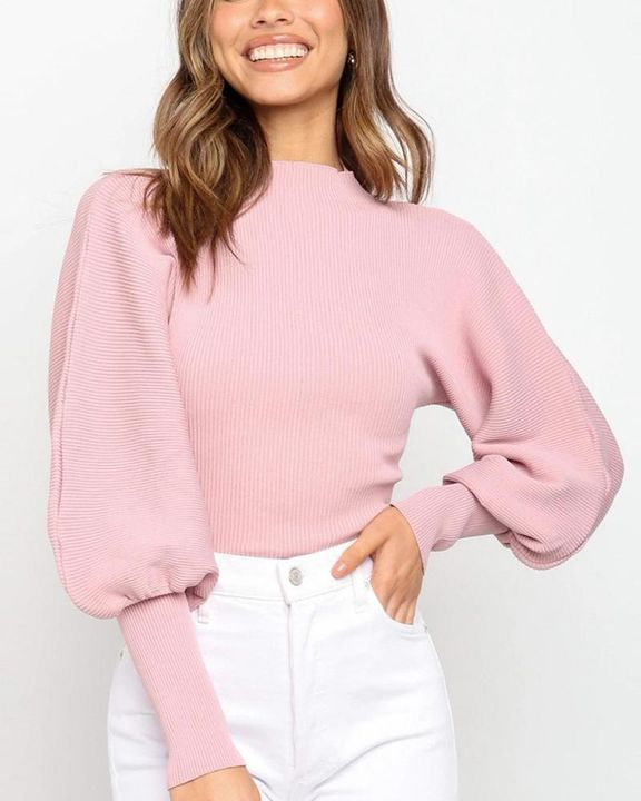 Solid Ribbed Leg-of-mutton Sleeve Sweater gallery 3