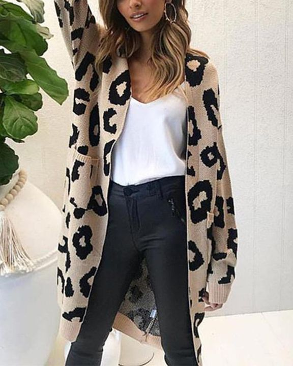 Leopard Print Patch Pocket Open Front Cardigan gallery 1