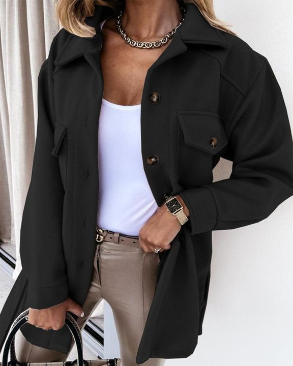 Self-Belted Flap Pocket Button Up Coat gallery 4