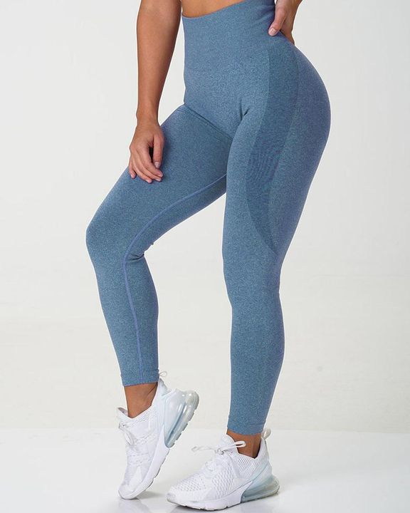 Solid Wide Waistband Contrast Stitch Sports Leggings  gallery 3