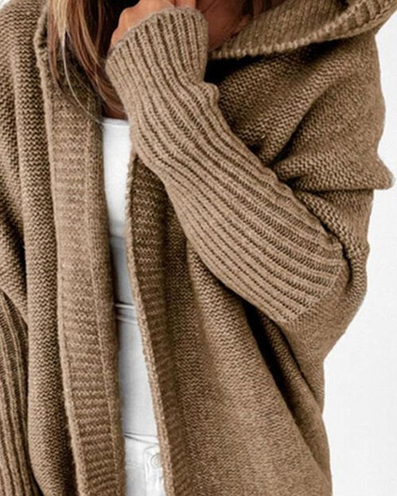 Solid Leg-of-mutton Sleeve Hooded Cardigan gallery 3