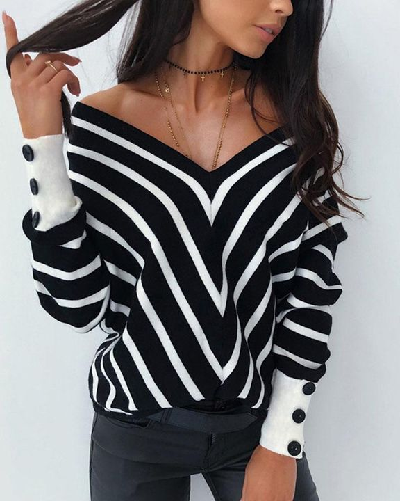 Striped Print Button Decor Off Shoulder Sweater gallery 1