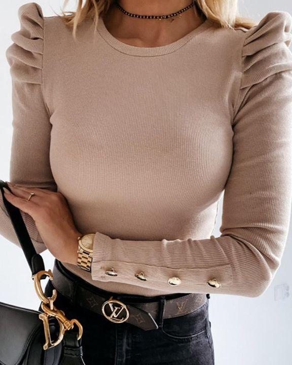 Rib Knit Leg-of-mutton Sleeve Button Trim Sweater gallery 1