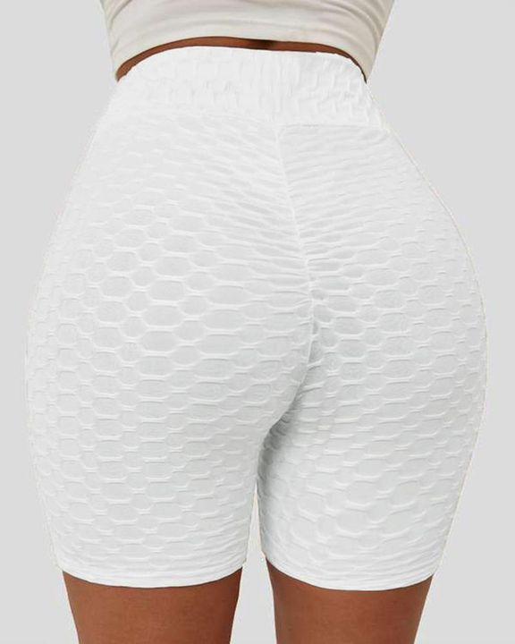Solid Textured Hip Lifting Shorts gallery 4