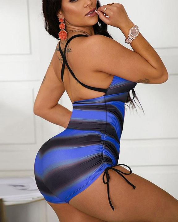 Striped Criss Cross Back Drawstring Side One Piece Swimsuit gallery 2