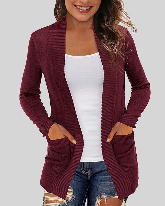 Solid Ribbed Pocket Detail Open Front Cardigan gallery 3