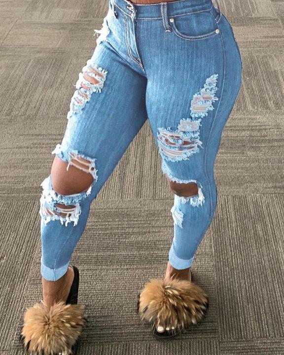 Plus Distressed Raw Hem Skinny Jeans gallery 3