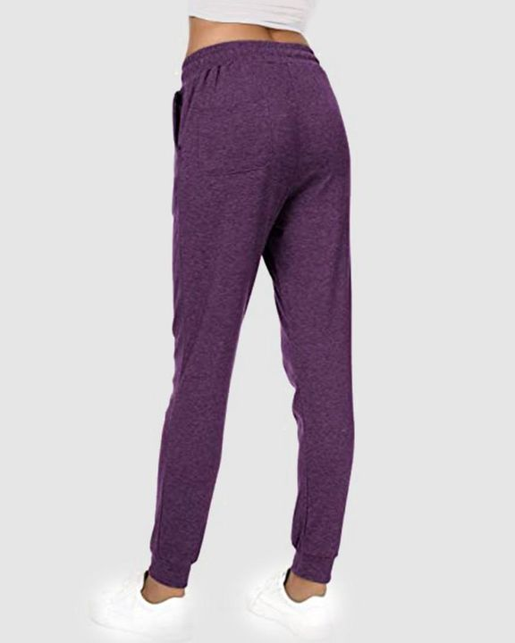 Solid Drawstring Front Pocket Detail Sports Pants gallery 14