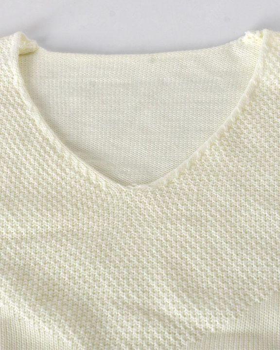 Crochet Drop Shoulder V Neck Sweater gallery 7