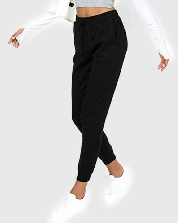 Solid Drawstring Front Pocket Detail Sports Pants gallery 13