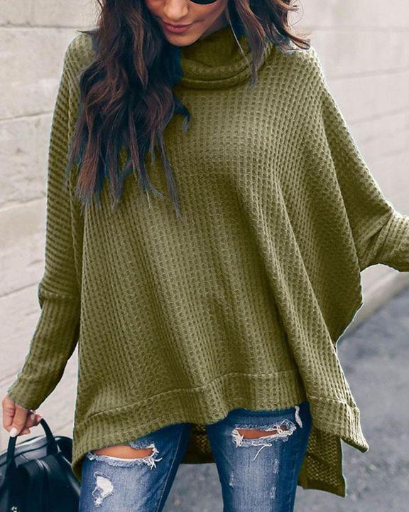 Solid Split Hem High Neck Sweater gallery 8