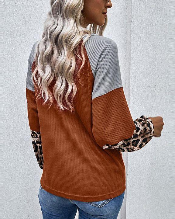 Cheetah Panel Colorblock Twist Front Drop Bishop Sleeve Sweater gallery 4