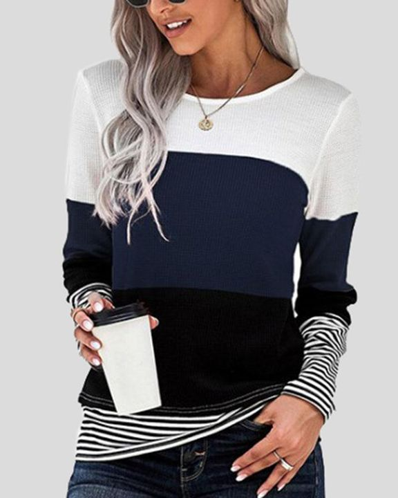 Colorblock Striped Print Round Neck Sweater gallery 5