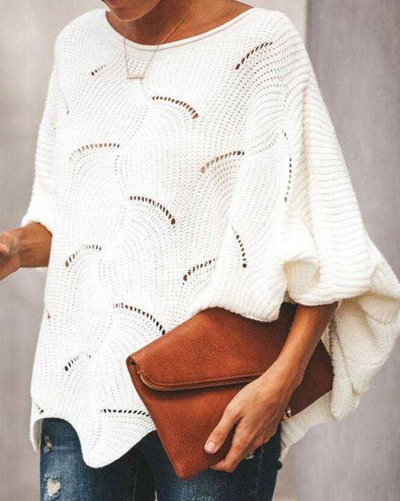 Open Knit Lantern Sleeve Scallop Hem Oversized Sweater gallery 1