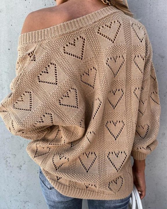 Heart Pattern Hollow Out Rib-Knit Sweater gallery 6