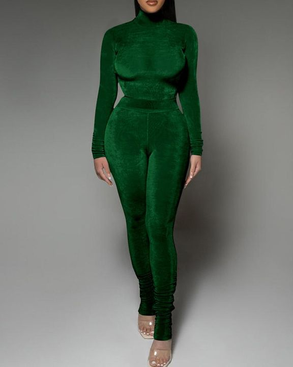 Solid Velvet Form Fitted Top & Pants Set gallery 5