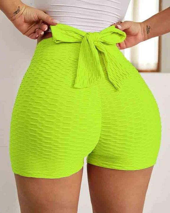 Textured Bow Tie Butt Lifting Sports Shorts gallery 5